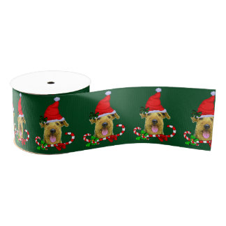 Airedale Terrier Christmas Merry Grosgrain Ribbon