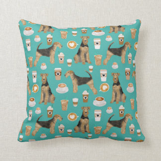 Airedale Terrier Coffee print pillow - dog gift