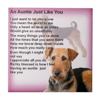 Airedale Terrier Design -  Auntie poem Ceramic Tile