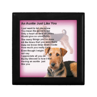 Airedale Terrier Design -  Auntie poem Gift Box