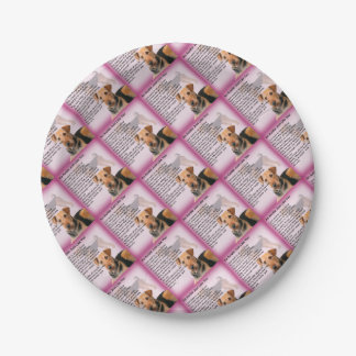 Airedale Terrier Design -  Auntie poem Paper Plate