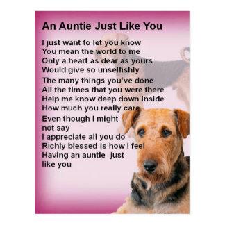 Airedale Terrier Design -  Auntie poem Postcard