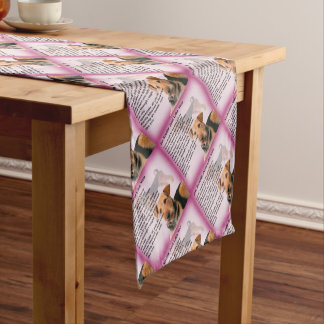 Airedale Terrier Design -  Auntie poem Short Table Runner