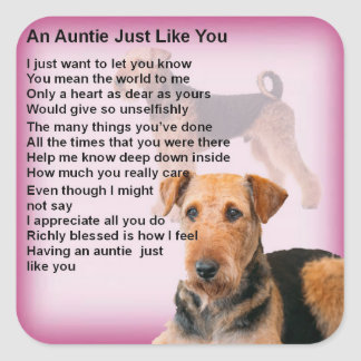 Airedale Terrier Design -  Auntie poem Square Sticker