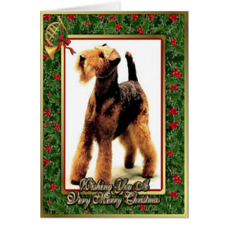 Airedale Terrier Dog Blank Christmas Card