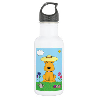 Airedale Terrier Dog in the Garden Water Bottle