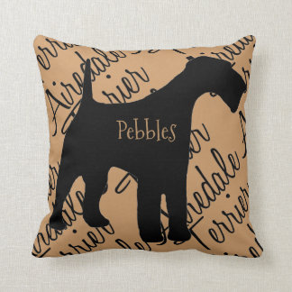Airedale Terrier Dog Silhouette Custom Pillow