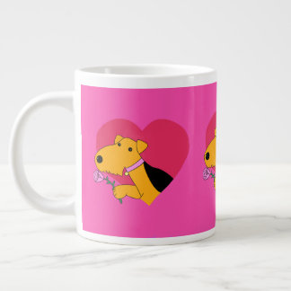 Airedale Terrier Dog with a Rose Mug