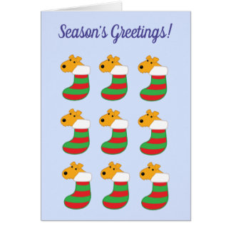 Airedale Terrier Dogs in Stockings Christmas Card