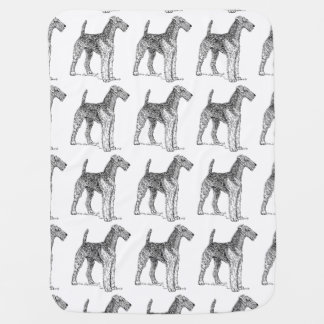 Airedale Terrier Elegant Dog Drawing Baby Blanket