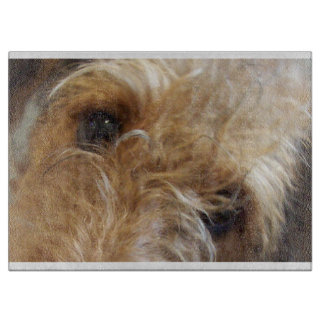 airedale terrier eyes cutting board