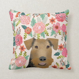 Airedale Terrier Floral dog pillow - dog gift