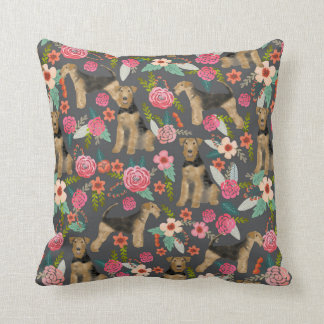 Airedale Terrier Floral print pillow - charcoal