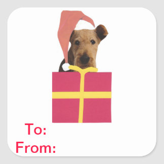 Airedale Terrier Gift Tags To and From Sticker