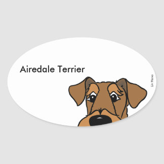 Airedale Terrier head Oval Sticker