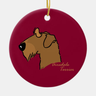 Airedale Terrier head silhouette Ceramic Ornament