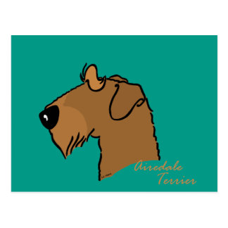 Airedale Terrier head silhouette Postcard