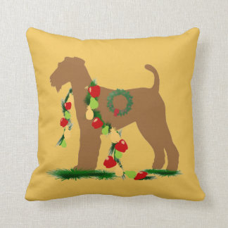 Airedale Terrier holiday Pillow