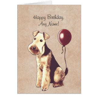 Airedale Terrier Illustrated Birthday Card