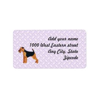Airedale Terrier Lavendar Weave Address Label