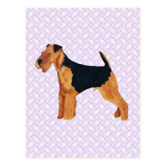 Airedale Terrier Lavendar Weave Postcard