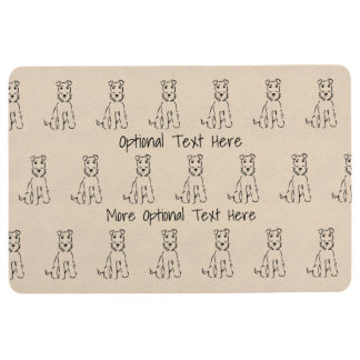Airedale Terrier Line Art - With or Without Text Floor Mat