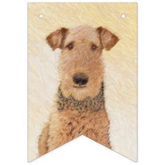 Airedale Terrier Painting - Cute Original Dog Art Bunting