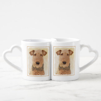 Airedale Terrier Painting - Cute Original Dog Art Coffee Mug Set