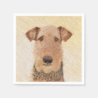 Airedale Terrier Painting - Cute Original Dog Art Disposable Serviette