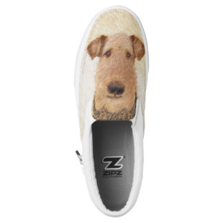 Airedale Terrier Painting - Cute Original Dog Art Slip-On Shoes