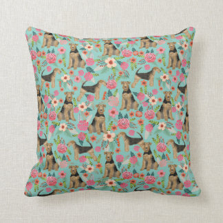 Airedale Terrier pillow floral dog pillow