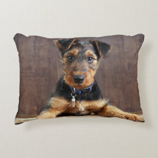 Airedale terrier puppy decorative cushion