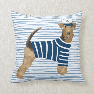 Airedale Terrier Sailor Nautical Dog Cushion