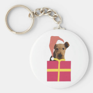 Airedale Terrier Santa Hat Gift Box Basic Round Button Key Ring