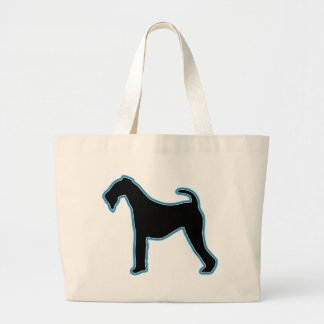 Airedale Terrier Silhouette Large Tote Bag