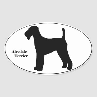 Airedale Terrier SIlhouette Oval Sticker