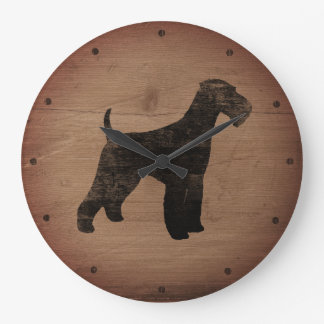 Airedale Terrier Silhouette Rustic Large Clock