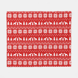 Airedale Terrier Silhouettes Christmas Pattern Fleece Blanket
