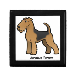 airedale terrier small square gift box