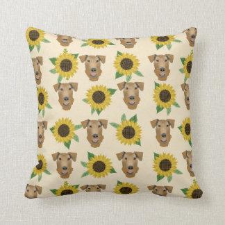 Airedale Terrier Sunflower Pattern Pillow
