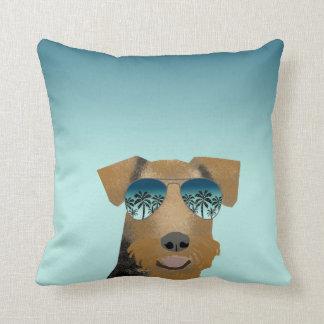 Airedale Terrier sunglasses tropical summer dog Cushion
