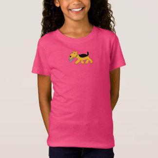 Airedale Terrier w Hat Girls' Fine Jersey T-Shirt