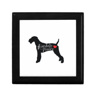 Airedale Terrier with Heart Dog Breed Love Small Square Gift Box