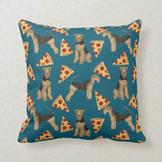 Airedale Terriers and pizza pillow