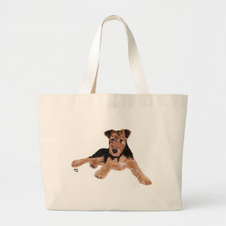 Airedale / Welsh Terrier Puppy Large Tote Bag