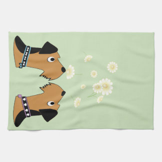 Airedales and Daisies Tea Towel