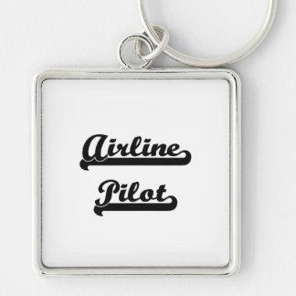 Airline Pilot Artistic Job Design Silver-Colored Square Key Ring