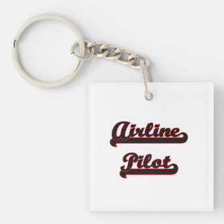 Airline Pilot Classic Job Design Single-Sided Square Acrylic Keychain