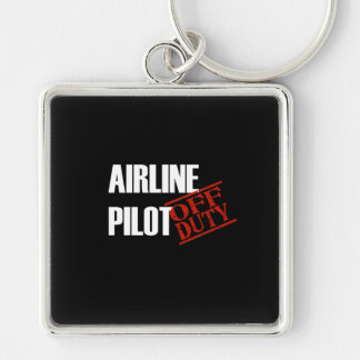 Airline Pilot Dark Silver-Colored Square Key Ring