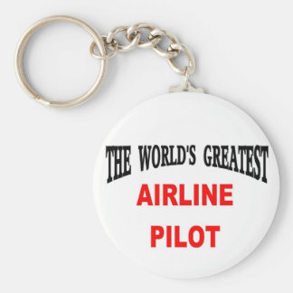 Airline pilot basic round button key ring